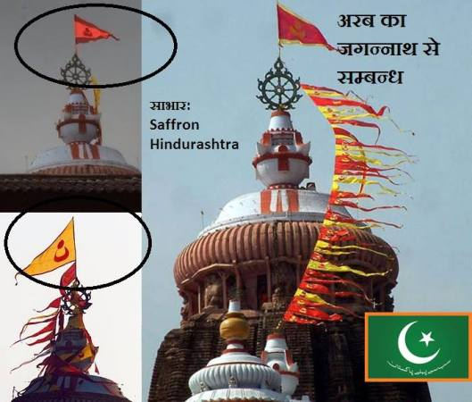 Moon Star symbol on the flag of Jagannath Temple, Puri