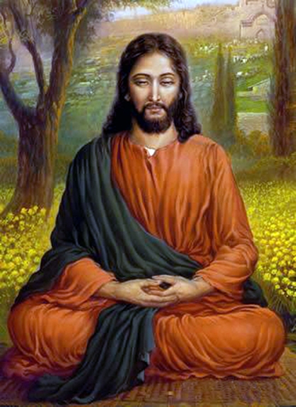 jesus in classical meditation or yoga pose